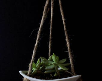 Porcelain Small Shallow Hanging Planter, Succulents, Vine, Ceramic