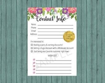 Lipsense customer contact information form, contact info form, customer contact form, lipsense forms, watercolor, floral