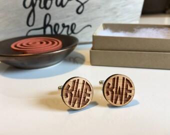 Monogram Cufflinks | Personalized Cuff Links | Wood Cuff Links | Anniversary Gift for Him | Groomsmen Cufflinks | Custom Cufflinks | Groom