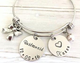 Tie The Knot Bracelet, Personalized Bow Knot Bracelet, Bridesmaid Bracelet, Bridesmaid Gift, Tie The Knot Jewelry, Silver Bracelet