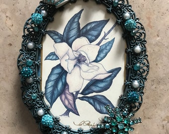 Turquoise Decorated Frame, Jeweled Frame, Silver Frame, Crown