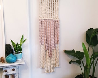 Long white/lilac macrame wall hanging