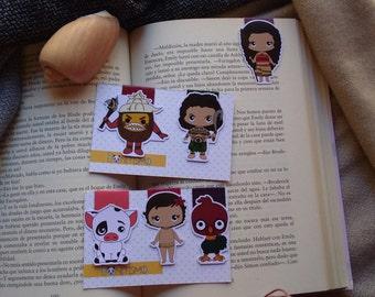 Magnetic bookmarks - Moana, Maui, Heihei, Pua, Kakamora, Disney
