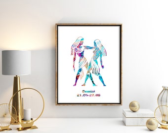 Watercolor  Astrology Art, Gemini Print, Gemini Sign ,Gemini Zodiac, Gemini Wall Art, Gemini Poster, Gifts for Gemini , Archival Art Print