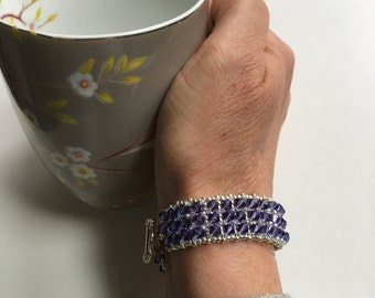 The Beauty of Tanzanite.  Swarovski Crystal Bracelet