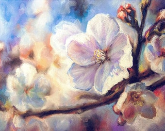 Blooming apple tree. ORIGINAL PASTEL DRAWING