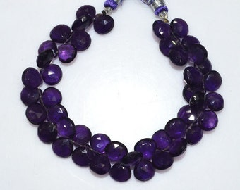 """Natural Amethyst Faceted Heart Shape Beads - Amethyst Heart Shape Briolette , Amethyst Briolette , 9x9-10.5x10.5 mm , 7.5"""" , BL2009"""