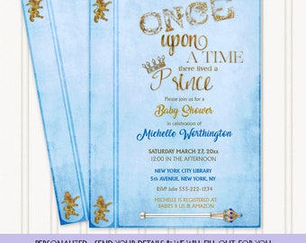Once Upon There Lived a Prince Fairy Tale Story Book Invitation | Blue Gold | Personalized Digital Invitation