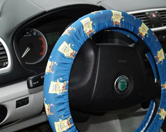 Steering wheel cover Yellow Sponge Bob Square Pants car accessory Cool Birthday gift Cute car decoration for man Car decor Car accessories