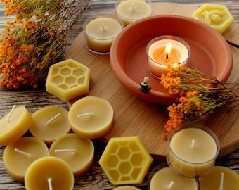 Bulk tealight candles 28 pack, pure Australian beeswax tea lights, natural, eco friendly and sustainable candles with no added fragrance.