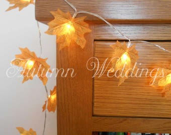 Autumn Leaves Fairy Lights 1-10m String Lights - Wedding Decorations - LED Leaf Garland Thanksgiving Yellow Gold Bedroom