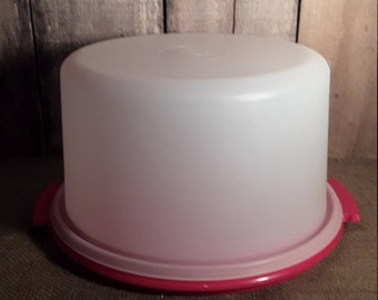 Vintage Tupperware Cake Carrier - Cake Keeper - Cake Container - Sheer White - Red Base #684-7