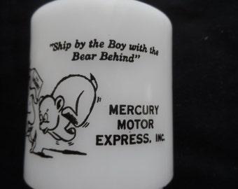 Rare Vintage Glasbake Humorous Mug   Advertising Collectible  Mercury Motor Express Inc.   1138