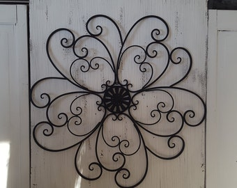 SALE Metal Headboard / Scrolled Metal Headboard / Bedroom Wall Decor / Shabby Chic Headboard/ Black Wall decor/ Black Wrought Iron headboard