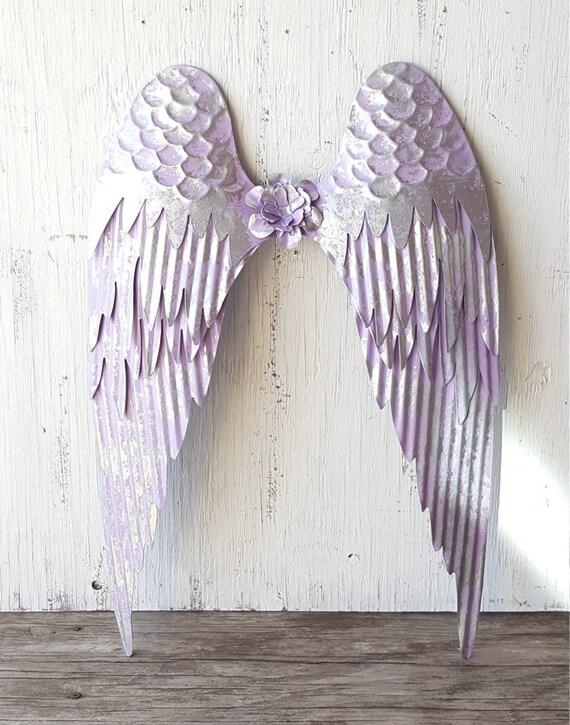 Metal Angel Wings Wall Decor large lavender and silver metal angel wings wall art shabby