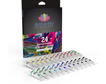 Acrylic Paint Set 24 Colors Professional Artist Grade Pigment Rich Art Painting Kit