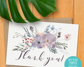 A6 4.625 x 6.25 Printable Thank You Instant Download Card - Watercolor Flowers, Pastel Colors, Lavender, Light Green, Pink, Script Copy