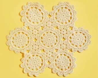 Crochet doily Milky doily Beige doily Lace doily Table crochet decor Holiday doily Crochet tablecloth Gift for women Gift for mom