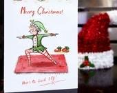 SALE - To Good Elf - Warrior 2 Yoga Pose Christmas Card