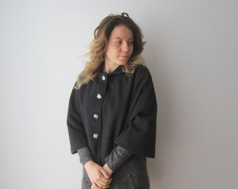 Vintage Wool Cropped Cloak Grey Cape Coat Austrian Cloak Sleeveless Coat Medium Size Spring Autumn Short Cape Cloak Medium Size