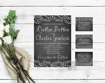 Rustic Wedding Invitation Template- Wedding Invitation Template Download- Instant Download Wedding Invitation- Printable Wedding Invitation