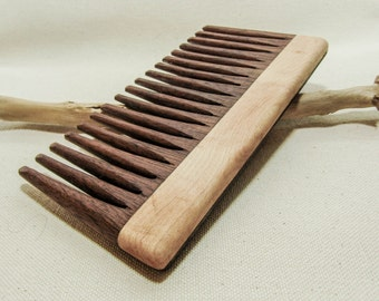 Modern Wooden Comb, Walnut, Maple, Curly hair, beard comb, gifts for her, gifts for him.