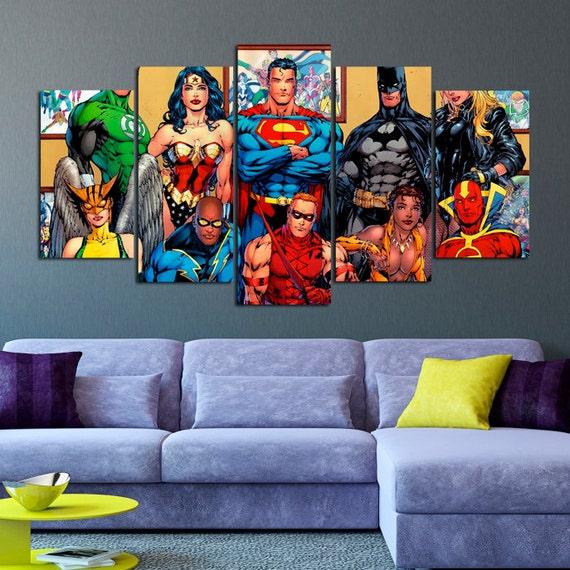 superheroes dc comics canvas art print batman canvas print Wall Art for Living Room Canvas Wall Art Sets