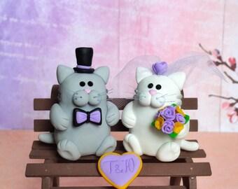 Cat cake topper, Custom wedding cake topper, bride and groom