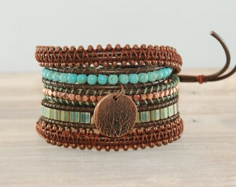 Rich copper, green and turquoise 5 wrap leather bracelet, macrame bracelet, leather wrap bracelet