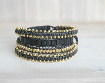 Black and gold bracelet, black wrap bracelet, macrame bracelet