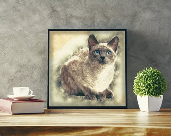 Blue Point Siamese Cat Custom Siamese Cat Poster Watercolor Siamese Cat Art Pastel Siamese Cat Animal Breeds Prints Canvas Wall Art Prints