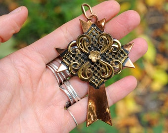 vintage large copper cross pendant, copper brass fancy ornate necklace pendant