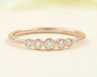 Diamond Wedding Band.Rose Gold Wedding Band.14K Solid Gold Diamond Wedding Ring.0.18ct Natural Diamond.Simple Wedding Band.Diamond Ring