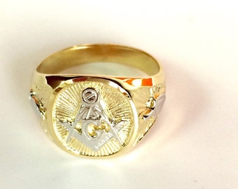 14 K Yellow Gold   closed back (john back) Masonic  Ring