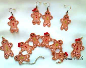 FSL jewelry gingerbread girl/boy earrings/pendant/christmas tree decoration Free Standing Lace Set Machine Embroidery design 4x4hoop-1 size