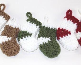 Mini Christmas Stockings / 4in Stockings / Set 6 christmas stockings ornaments