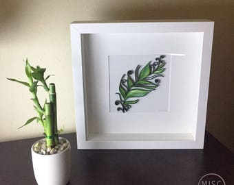 Paper Wall Art - Green Feather - Paper Quilling - Framed Artwork