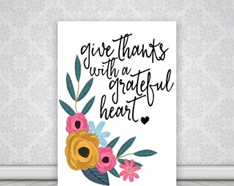 Give Thanks wall art printable, fall decor, thanksgiving printable, autumn printables, black handwritten typography, quotes digital download
