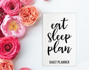 """Daily Dateless Planner - 5X8"""" - Handwritten Font - 52 Weeks - Motivational Quote - Priorities - Notes- am/noon/pm Schedule - Daily Organizer"""