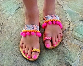"FREE SHIPPING Colorful Sandals ""Malibu"" / Pom Pom Sandals / Leather Strappy Sandals / Greek Womens Sandals / Boho Sandals / Pompom Sandals"