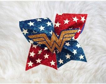 Wonder Woman Bow~Marvel Bow~Wonder Woman Emblem~Cheer Bow~Cheerleading