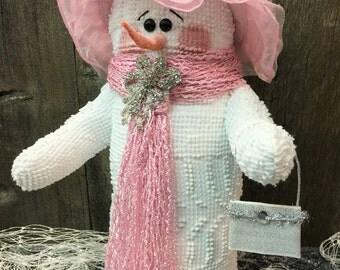 """Handcrafted Snowman, Handmade Snowmen, """"Lila"""", Snowmen Decor"""
