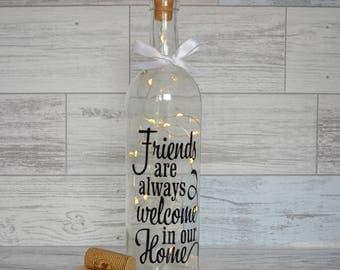 Wine Bottle Light, Decorative Wine Bottle, Wine Bottle with Lights, Lighted Wine Bottle, Fairy Lights, Friends Gift, New Home, House Warming