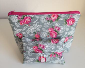 Makeup Bag, Makeup Case, Cosmetic Bag and Pocket Tissue holder, Travel Tissue Case, Purse and matching pocket tissue case