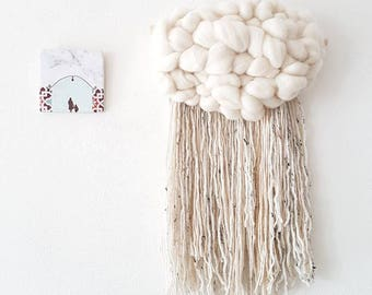 Fluffy cloud XL Woven Wall Hanging, nursery decor. Ivory roving and fringe of ivory and grey and a little gold