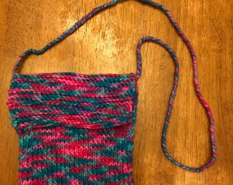 Pink and Blue Hand Knitted Purse