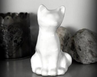 Unique ceramic cat figurine-hand made pottery-Glossy white