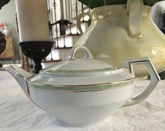 """Teapot in Greek Key Green  Art Deco style Heinrich & Co. Selb """"Electra"""""""