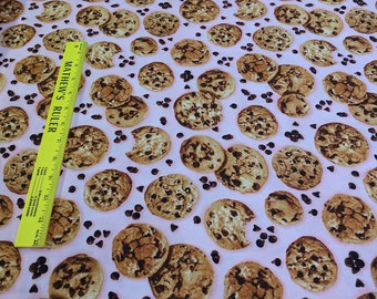The Sweet Shop-Chocolate Chip Cookies on Pink Cotton Fabric from Robert Kaufman