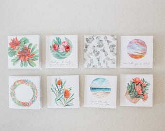 Watercolour Greeting Cards Pack of 4 or 8 - recycled, 125mm square, blank - with kraft envelopes